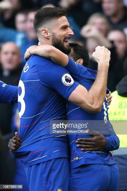 Olivier Giroud of Chelsea celebrates their goal during the Premier League match between Chelsea FC and Fulham FC at Stamford Bridge on December 2...