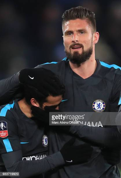Olivier Giroud of Chelsea celebrates with Pedro during the Emirates FA Cup Quarter Final match between Leicester City and Chelsea at The King Power...
