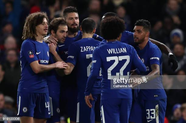 Olivier Giroud of Chelsea celebrates with team mates after scoring his team's fourth goal of the game during The Emirates FA Cup Fifth Round match...