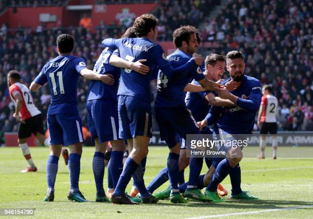 Olivier Giroud of Chelsea celebrates with teammates after scoring his sides third goal during the Premier League match between Southampton and...