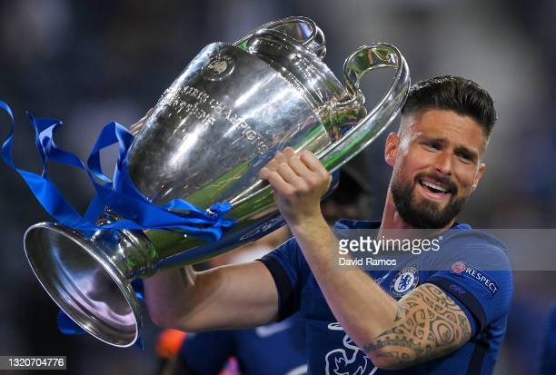 Olivier Giroud of Chelsea celebrates with the Champions League Trophy following their team's victory in the UEFA Champions League Final between...