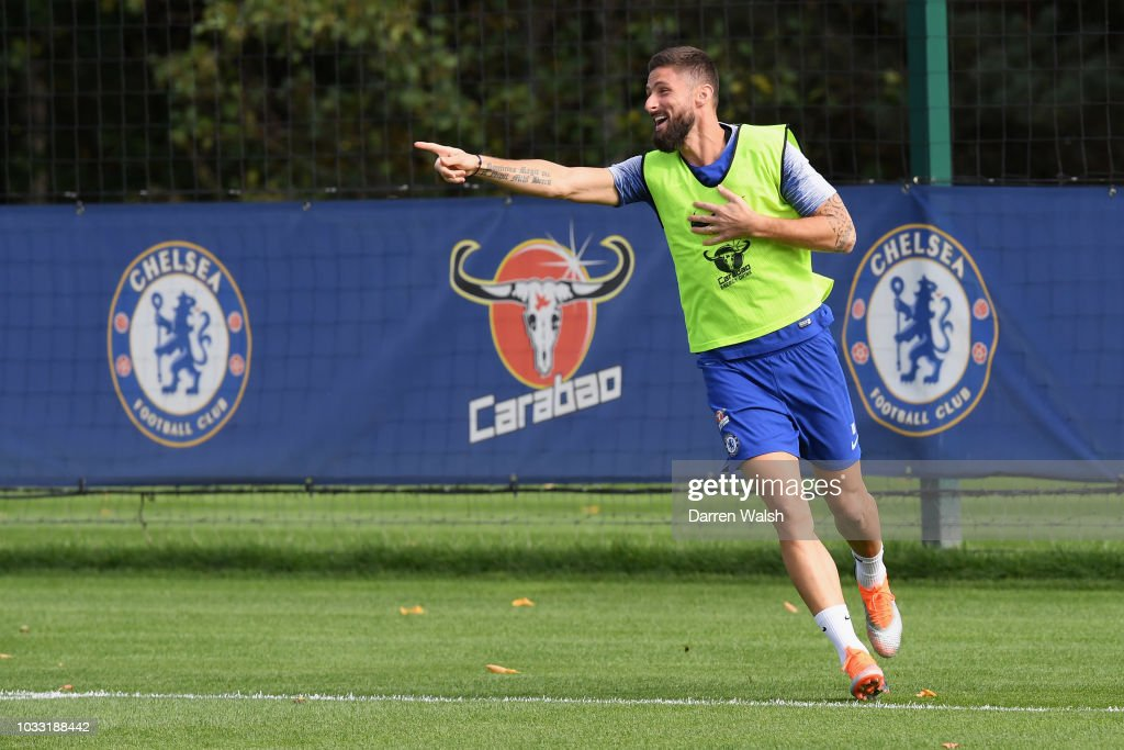 Olivier Giroud of Chelsea during a training session at Chelsea Training Ground on September 14, 2018 in Cobham, England.