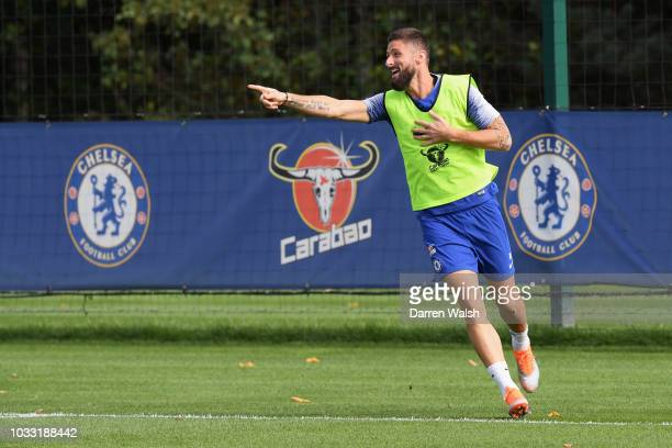 Olivier Giroud of Chelsea during a training session at Chelsea Training Ground on September 14 2018 in Cobham England