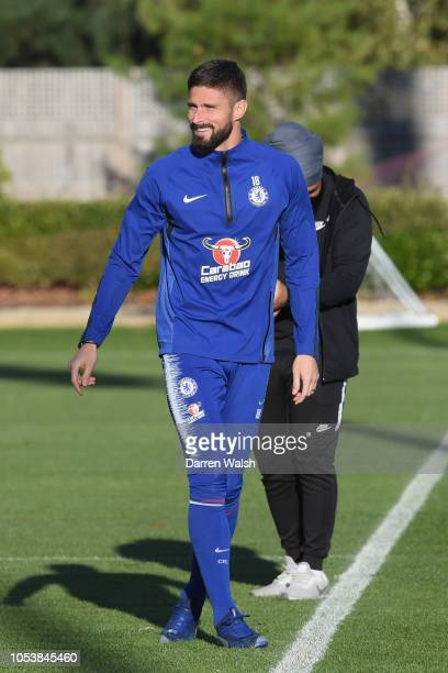 Olivier Giroud of Chelsea during a training session at Chelsea Training Ground on October 26 2018 in Cobham England