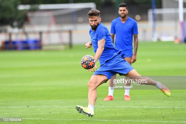 Olivier Giroud of Chelsea during a training session at Chelsea Training Ground on August 6 2020 in Cobham England