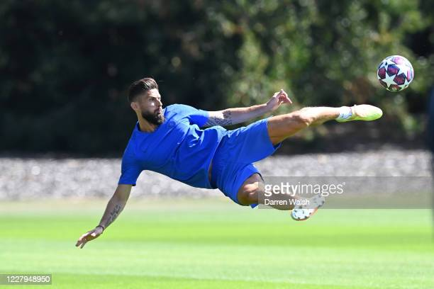 Olivier Giroud of Chelsea during a training session at Chelsea Training Ground on August 7 2020 in Cobham England