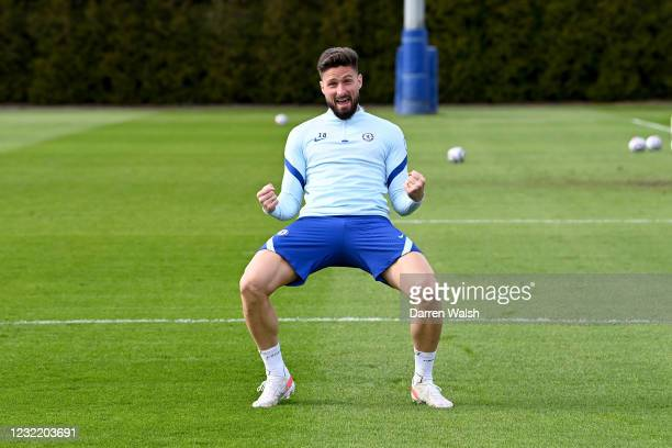 Olivier Giroud of Chelsea during a training session at Chelsea Training Ground on April 9, 2021 in Cobham, England.