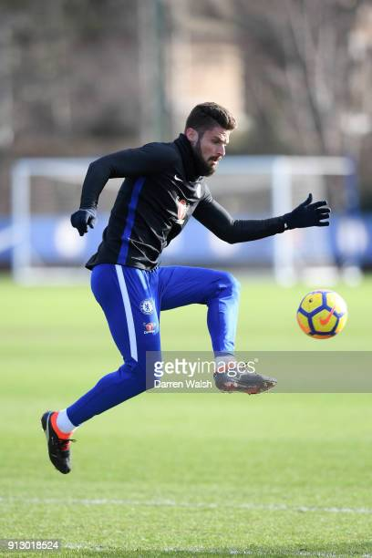 Olivier Giroud of Chelsea during a training session at Chelsea Training Ground on February 1, 2018 in Cobham, England.