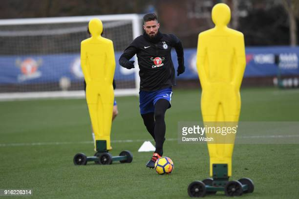 Olivier Giroud of Chelsea during a training session at Chelsea Training Ground on February 9 2018 in Cobham England
