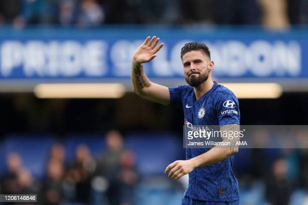 Olivier Giroud of Chelsea during the Premier League match between Chelsea FC and Everton FC at Stamford Bridge on March 8 2020 in London United...