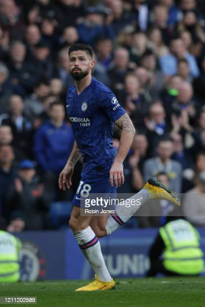 Olivier Giroud of Chelsea during the Premier League match between Chelsea FC and Everton FC at Stamford Bridge on March 08 2020 in London United...