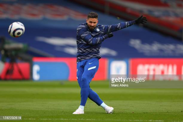Olivier Giroud of Chelsea during the Premier League match between Crystal Palace and Chelsea at Selhurst Park on April 10, 2021 in London, United...