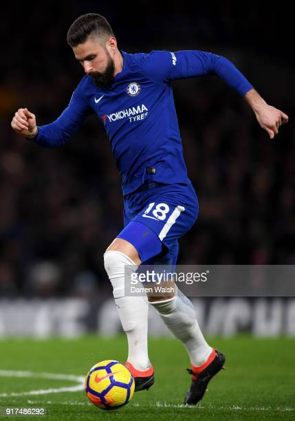 Olivier Giroud of Chelsea during the Premier League match between Chelsea and West Bromwich Albion at Stamford Bridge on February 12 2018 in London...