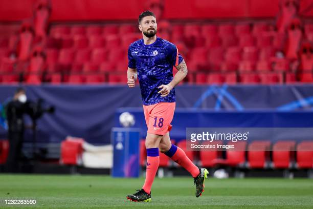 Olivier Giroud of Chelsea during the UEFA Champions League match between FC Porto v Chelsea at the Ramon Sanchez Pizjuan Stadium on April 7, 2021 in...