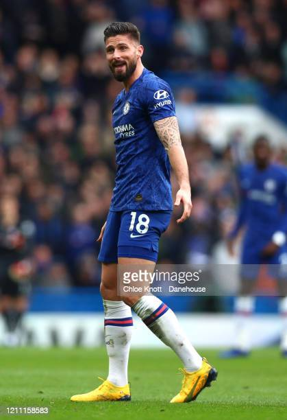 Olivier Giroud of Chelsea FC reacts during the Premier League match between Chelsea FC and Everton FC at Stamford Bridge on March 08 2020 in London...