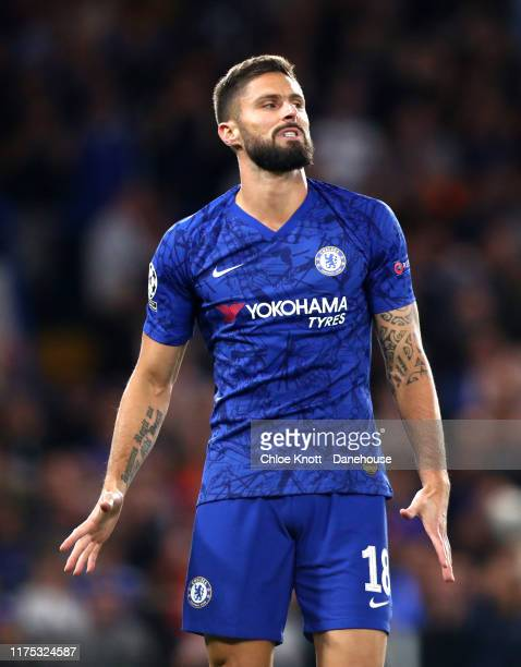 Olivier Giroud of Chelsea FC reacts during the UEFA Champions League group H match between Chelsea FC and Valencia CF at Stamford Bridge on September...