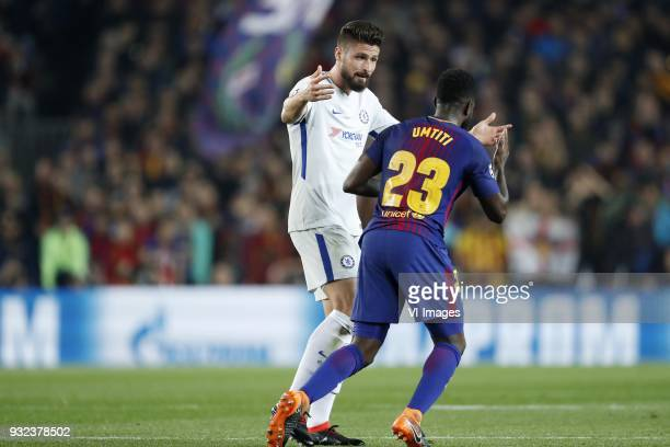 Olivier Giroud of Chelsea FC Samuel Umtiti of FC Barcelona during the UEFA Champions League round of 16 match between FC Barcelona and Chelsea FC at...