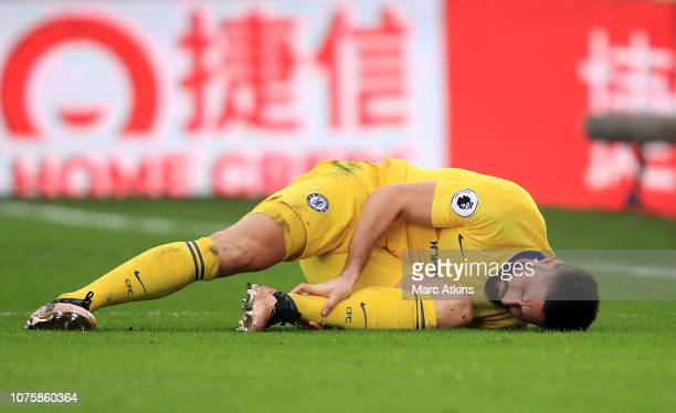 Olivier Giroud of Chelsea goes down holidng his ankle during the Premier League match between Crystal Palace and Chelsea FC at Selhurst Park on...