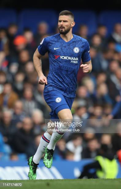 Olivier Giroud of Chelsea in action during the Premier League match between Chelsea FC and Watford FC at Stamford Bridge on May 05 2019 in London...