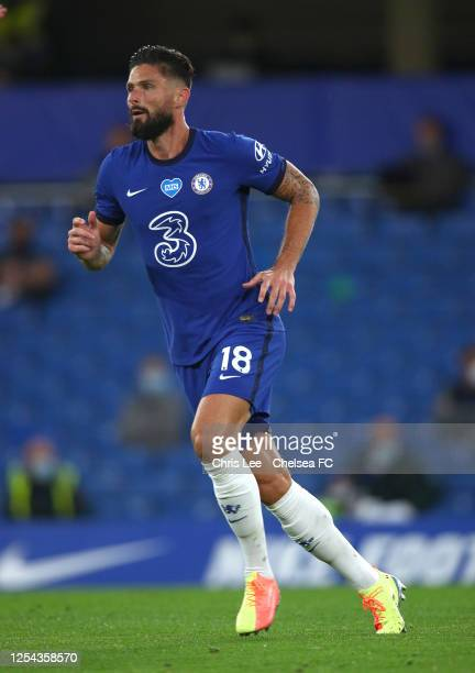 Olivier Giroud of Chelsea in action during the Premier League match between Chelsea FC and Watford FC at Stamford Bridge on July 04 2020 in London...