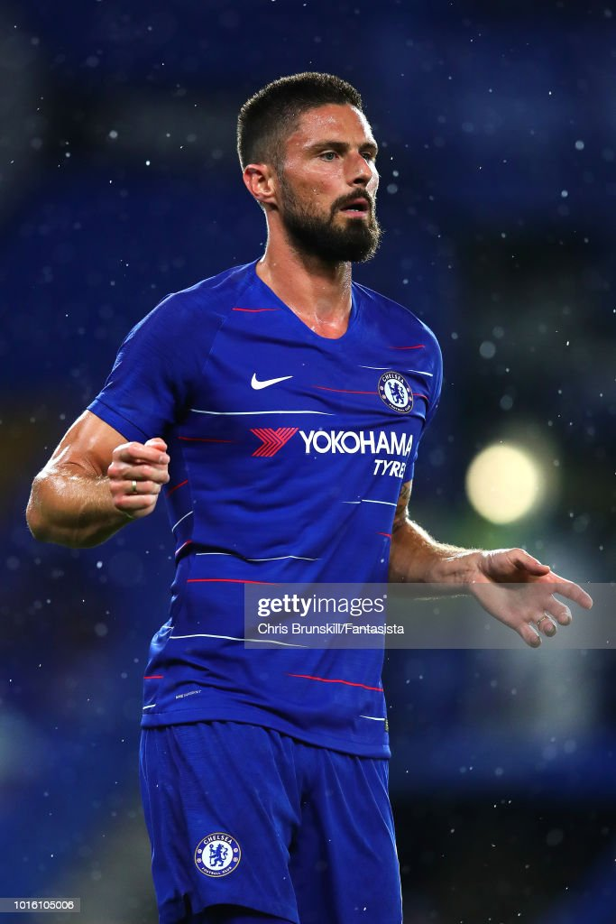 Olivier Giroud of Chelsea in action during the pre-season friendly match between Chelsea and Olympique Lyonnais at Stamford Bridge on August 7, 2018 in London, England.
