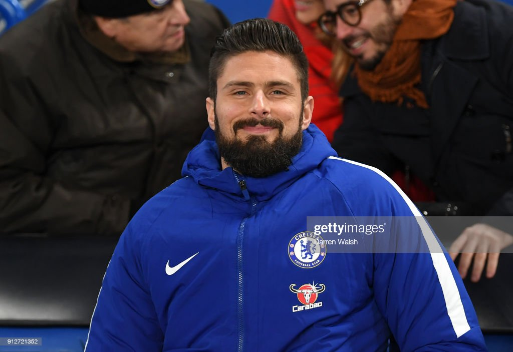 Olivier Giroud of Chelsea is seen in the stands prior to the Premier League match between Chelsea and AFC Bournemouth at Stamford Bridge on January 31, 2018 in London, England.