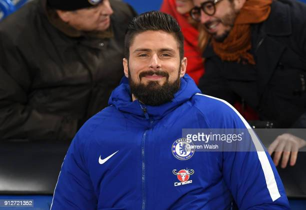 Olivier Giroud of Chelsea is seen in the stands prior to the Premier League match between Chelsea and AFC Bournemouth at Stamford Bridge on January...