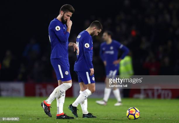 Olivier Giroud of Chelsea looks dejected after the Premier League match between Watford and Chelsea at Vicarage Road on February 5 2018 in Watford...