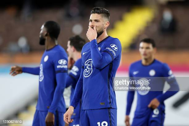Olivier Giroud of Chelsea looks dejected during the Premier League match between Fulham and Chelsea at Craven Cottage on January 16, 2021 in London,...