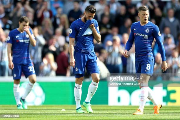 Olivier Giroud of Chelsea looks dejected during the Premier League match between Newcastle United and Chelsea at St James Park on May 13 2018 in...