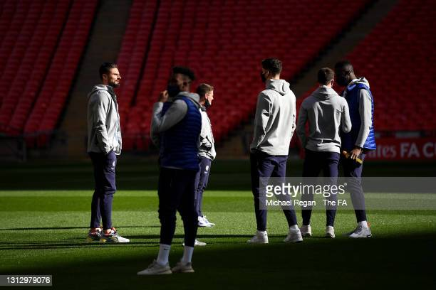 Olivier Giroud of Chelsea looks on during a pitch inspection prior to the Semi Final of the Emirates FA Cup match between Manchester City and Chelsea...