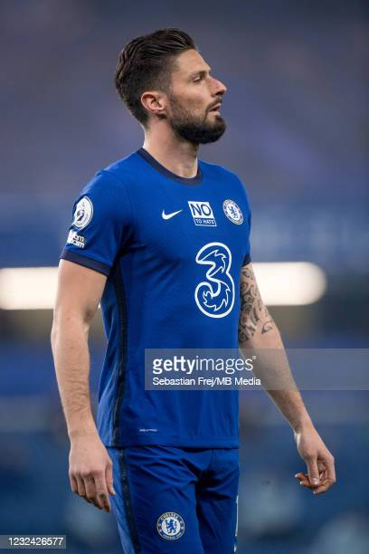 Olivier Giroud of Chelsea looks on during the Premier League match between Chelsea and Brighton & Hove Albion at Stamford Bridge on April 20, 2021 in...