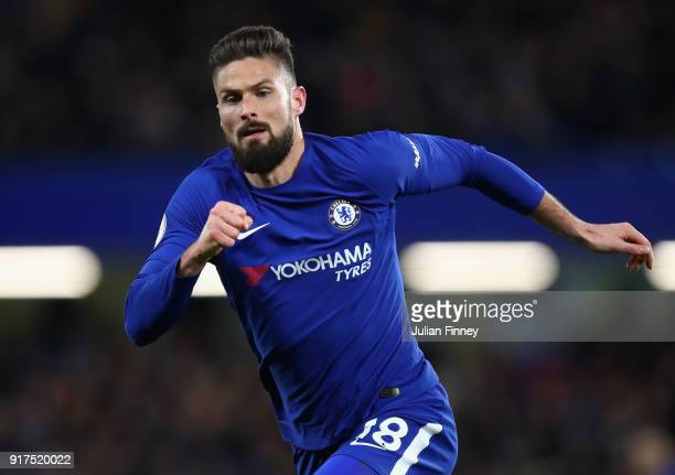 Olivier Giroud of Chelsea looks on during the Premier League match between Chelsea and West Bromwich Albion at Stamford Bridge on February 12 2018 in...