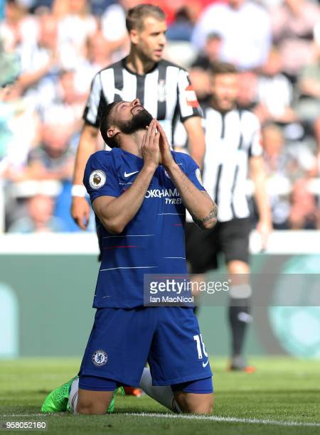 Olivier Giroud of Chelsea reacts after a missed chance during the Premier League match between Newcastle United and Chelsea at St James Park on May...