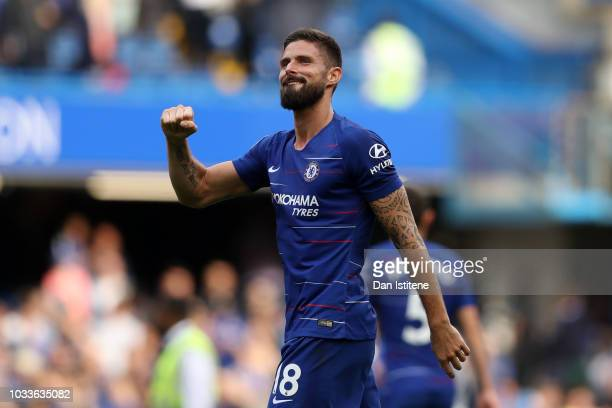 Olivier Giroud of Chelsea reacts during the Premier League match between Chelsea FC and Cardiff City at Stamford Bridge on September 15 2018 in...