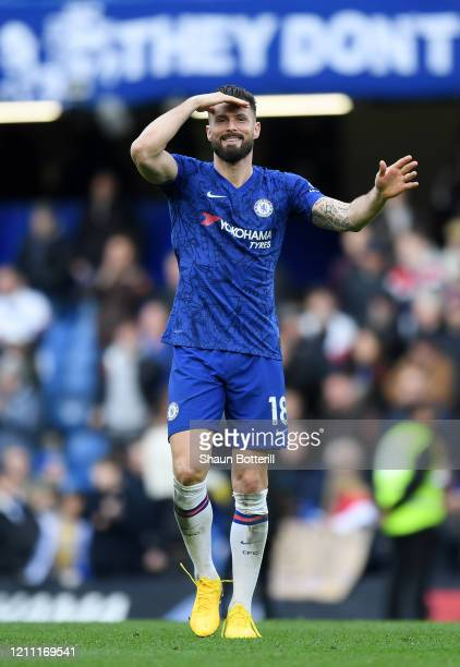 Olivier Giroud of Chelsea reacts during the Premier League match between Chelsea FC and Everton FC at Stamford Bridge on March 08 2020 in London...
