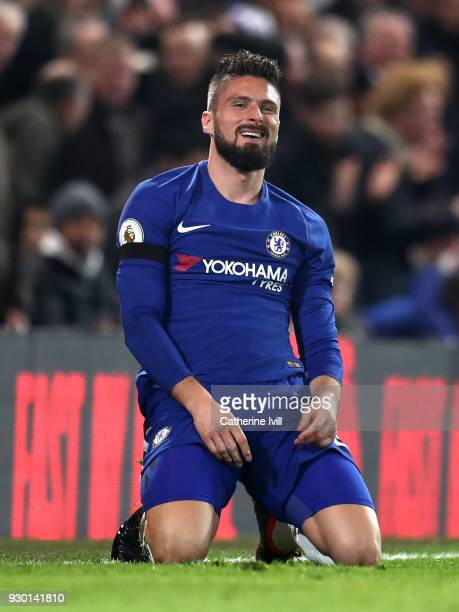 Olivier Giroud of Chelsea reacts during the Premier League match between Chelsea and Crystal Palace at Stamford Bridge on March 10 2018 in London...