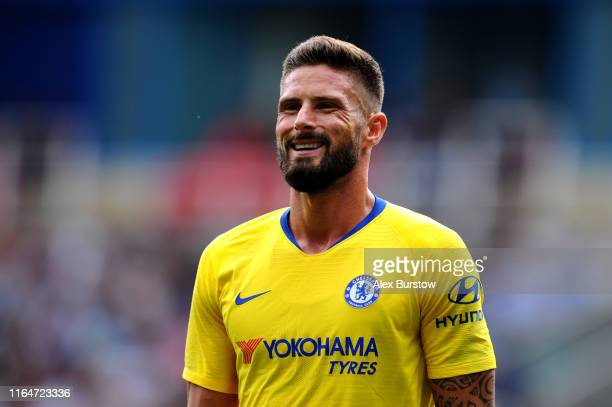 Olivier Giroud of Chelsea reacts during the PreSeason Friendly match between Reading and Chelsea at Madejski Stadium on July 28 2019 in Reading...
