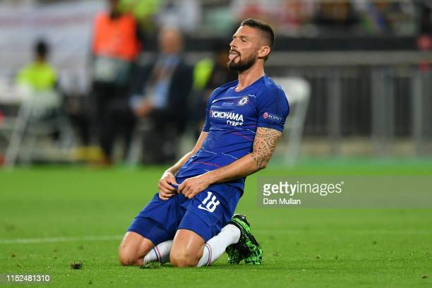 Olivier Giroud of Chelsea reacts during the UEFA Europa League Final between Chelsea and Arsenal at Baku Olimpiya Stadionu on May 29 2019 in Baku...