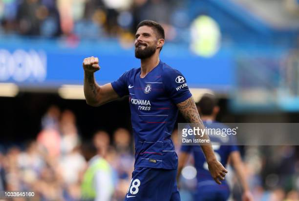 Olivier Giroud of Chelsea reacts following the Premier League match between Chelsea FC and Cardiff City at Stamford Bridge on September 15 2018 in...