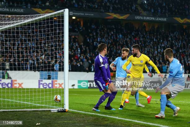 Olivier Giroud of Chelsea scores a goal to make it 02 during the UEFA Europa League Round of 32 First Leg match between Malmo FF and Chelsea at...