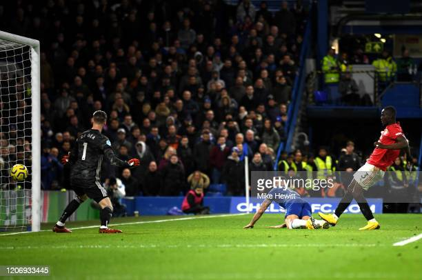 Olivier Giroud of Chelsea scores a goal which is later disallowed for offside during the Premier League match between Chelsea FC and Manchester...