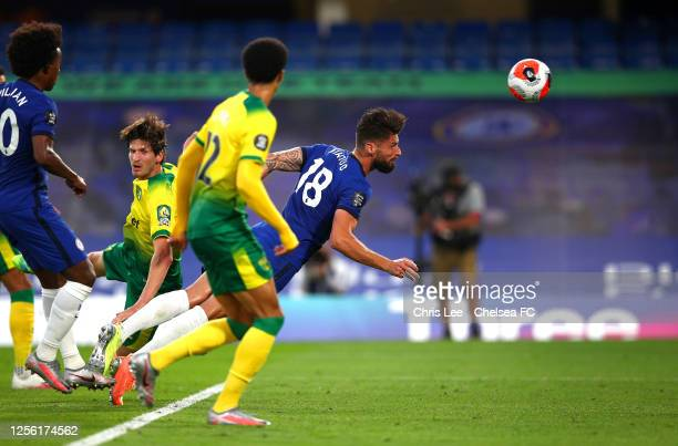 Olivier Giroud of Chelsea scores his sides first goal during the Premier League match between Chelsea FC and Norwich City at Stamford Bridge on July...