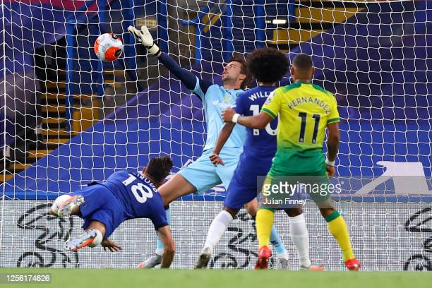 Olivier Giroud of Chelsea scores his sides first goal past Tim Krul of Norwich City during the Premier League match between Chelsea FC and Norwich...