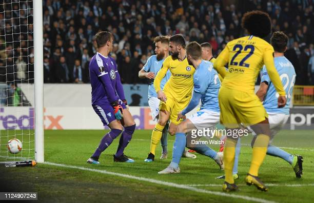 Olivier Giroud of Chelsea scores his sides second goal during the UEFA Europa League Round of 32 First Leg match between Malmo FF and Chelsea at...
