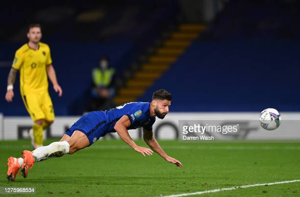 Olivier Giroud of Chelsea scores his sides sixth goal during the Carabao Cup third round match between Chelsea and Barnsley at Stamford Bridge on...