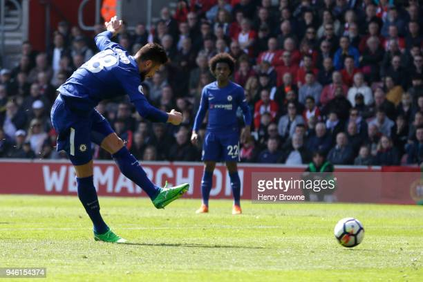 Olivier Giroud of Chelsea scores his sides third goal during the Premier League match between Southampton and Chelsea at St Mary's Stadium on April...