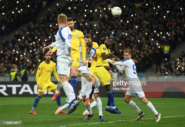 Olivier Giroud of Chelsea scores his third and his team's fourth goal during the UEFA Europa League Round of 16 Second Leg match between Dynamo Kyiv...