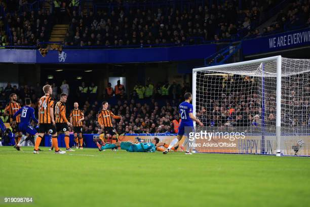 Olivier Giroud of Chelsea scores their 4th goal during the FA Cup 5th Round match between Chelsea and Hull City at Stamford Bridge on February 16...