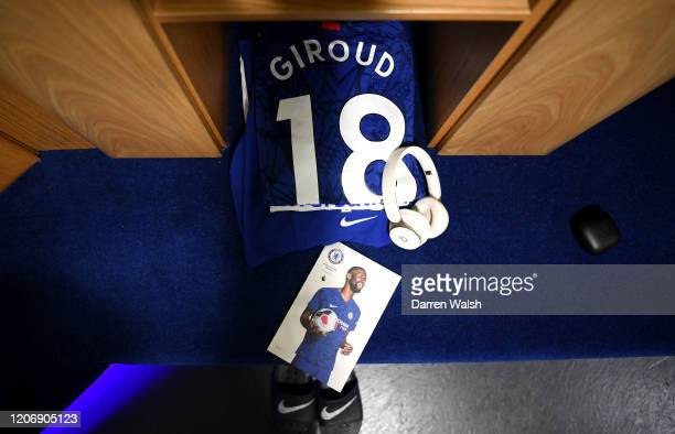 Olivier Giroud of Chelsea shirt is seen in the changing room prior to the Premier League match between Chelsea FC and Manchester United at Stamford...